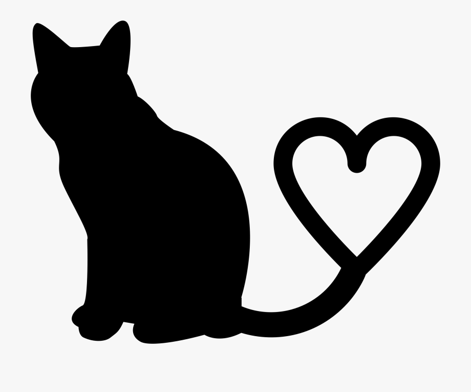 Clip Art Cat Heart Clipart 2 Silhouette Tail.