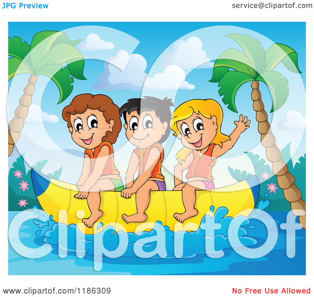 Cartoon of Happy Children Wearing Life Jackets and Riding a Banana.