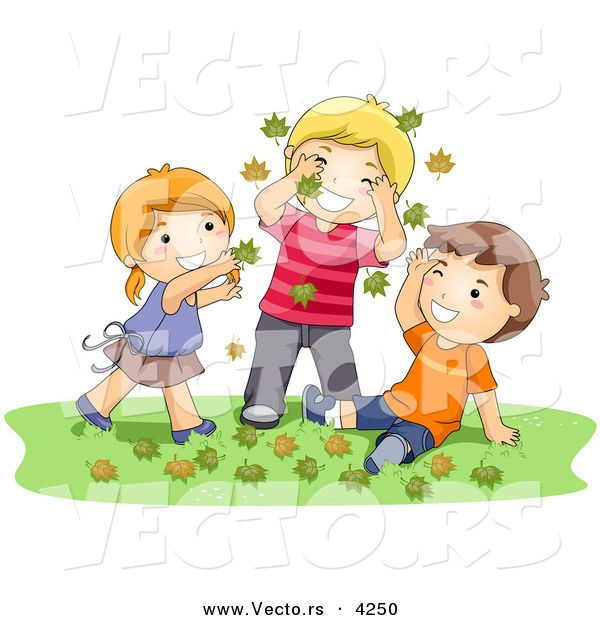 Cartoon Vector of a Happy Girl and 2 Boys Playing in Autumn.