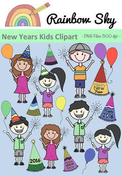 New Years Kids Clipart 2016.