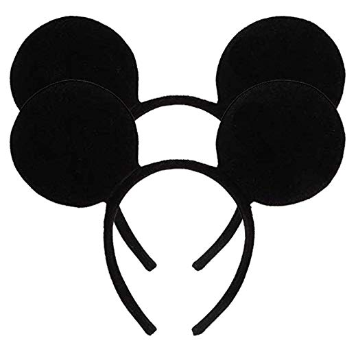 Pack of 2 Mickey Minnie Mouse Ears, Minnie Mouse Red Bow Sparkled Headband  for Baby Boys Girls Birthday Party (Red Sparkled).