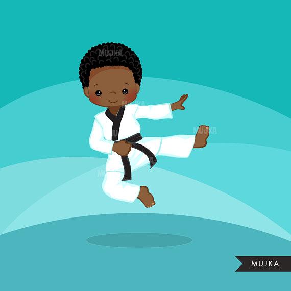Karate Kid Clipart. Karate boys, card making, planner.
