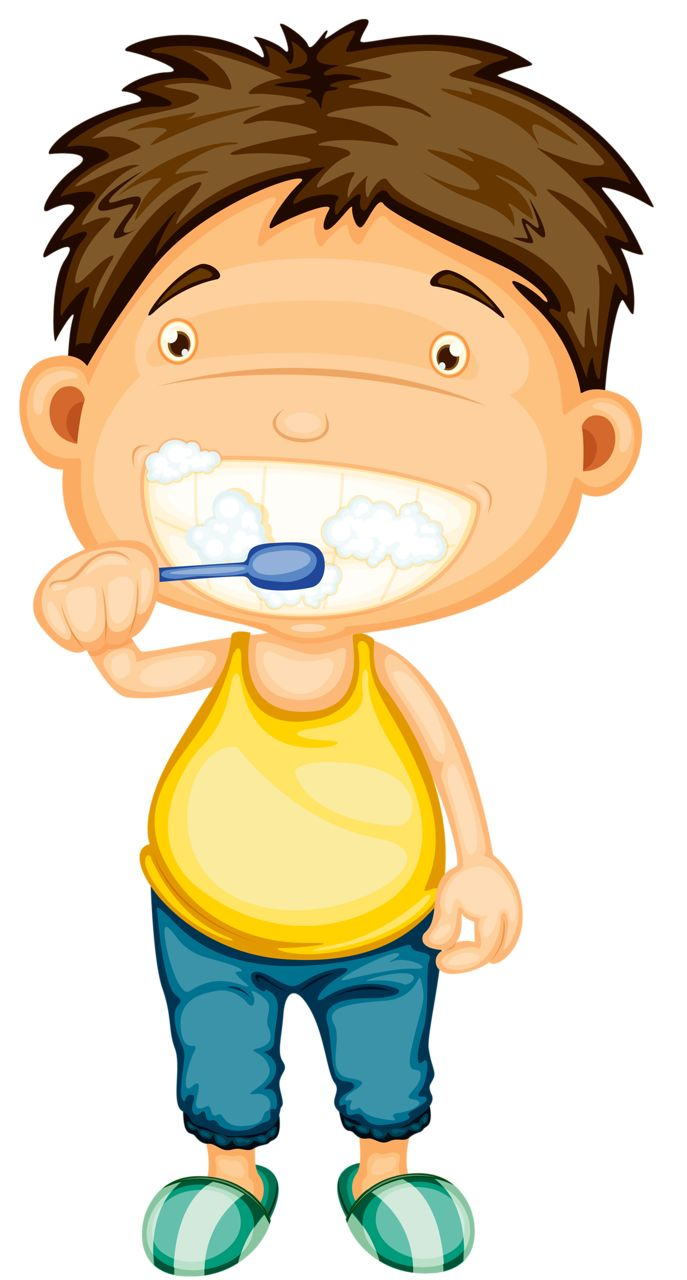 Girl Brushing Teeth Clipart.
