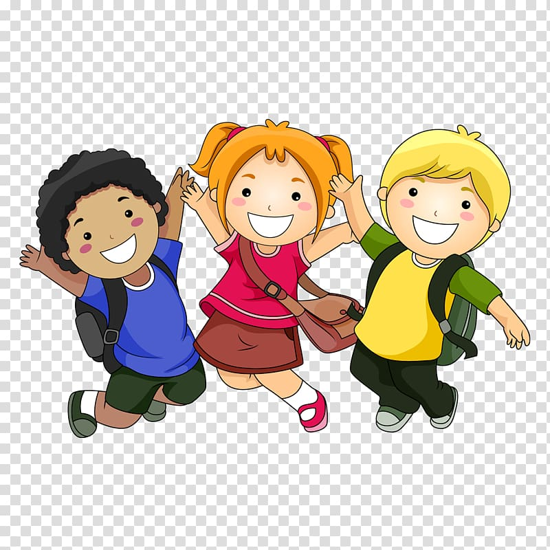 Two boys and girl jumping illustration, Cartoon Child , A.