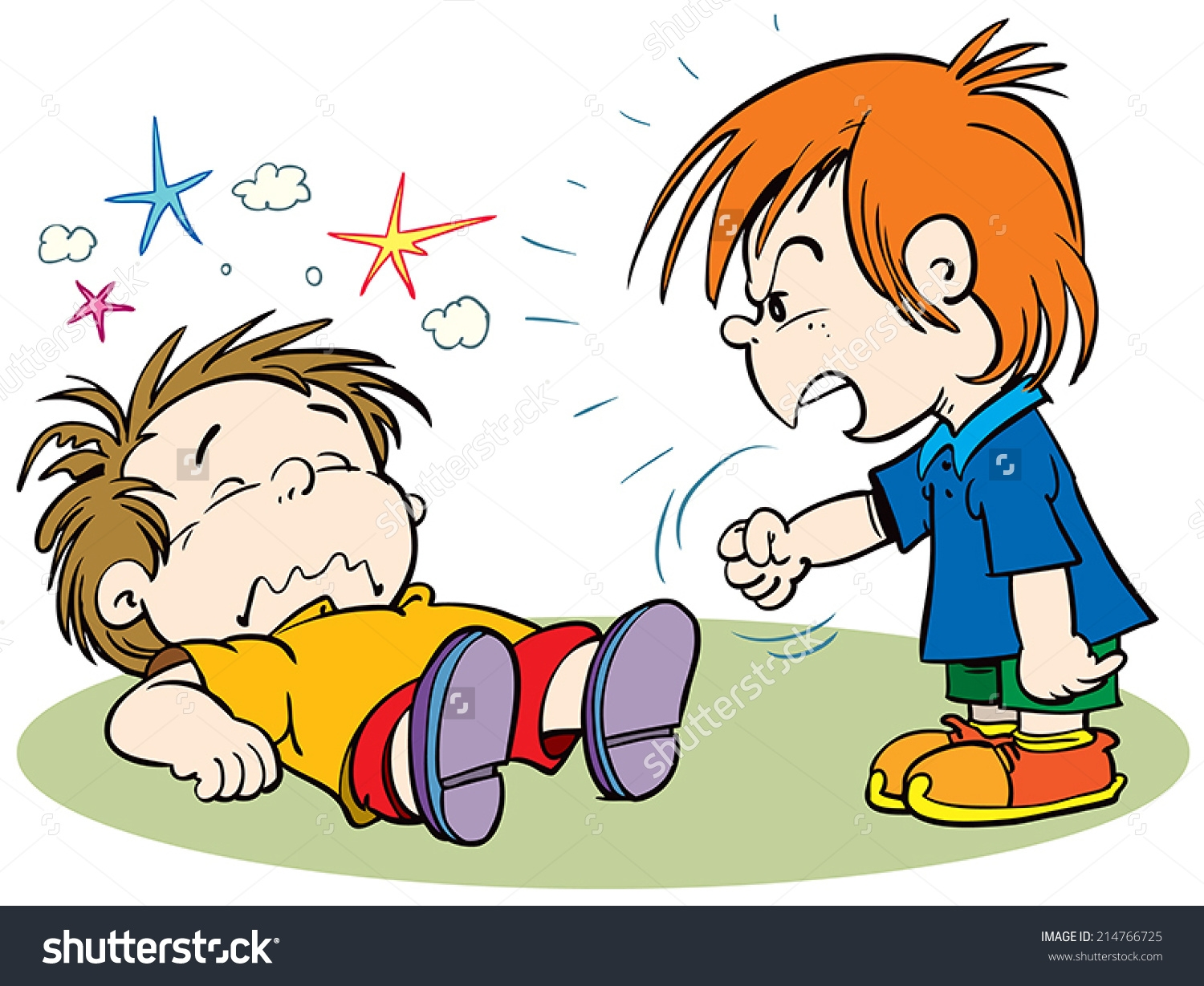 Two Kids Fighting Clipart.