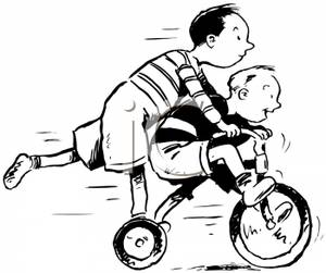 Two Boys Riding Together on a Tricycle.