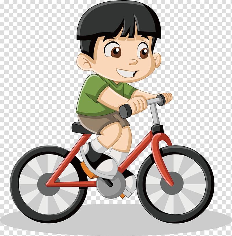 Boy riding bicycle , Cartoon Drawing Illustration, Little.