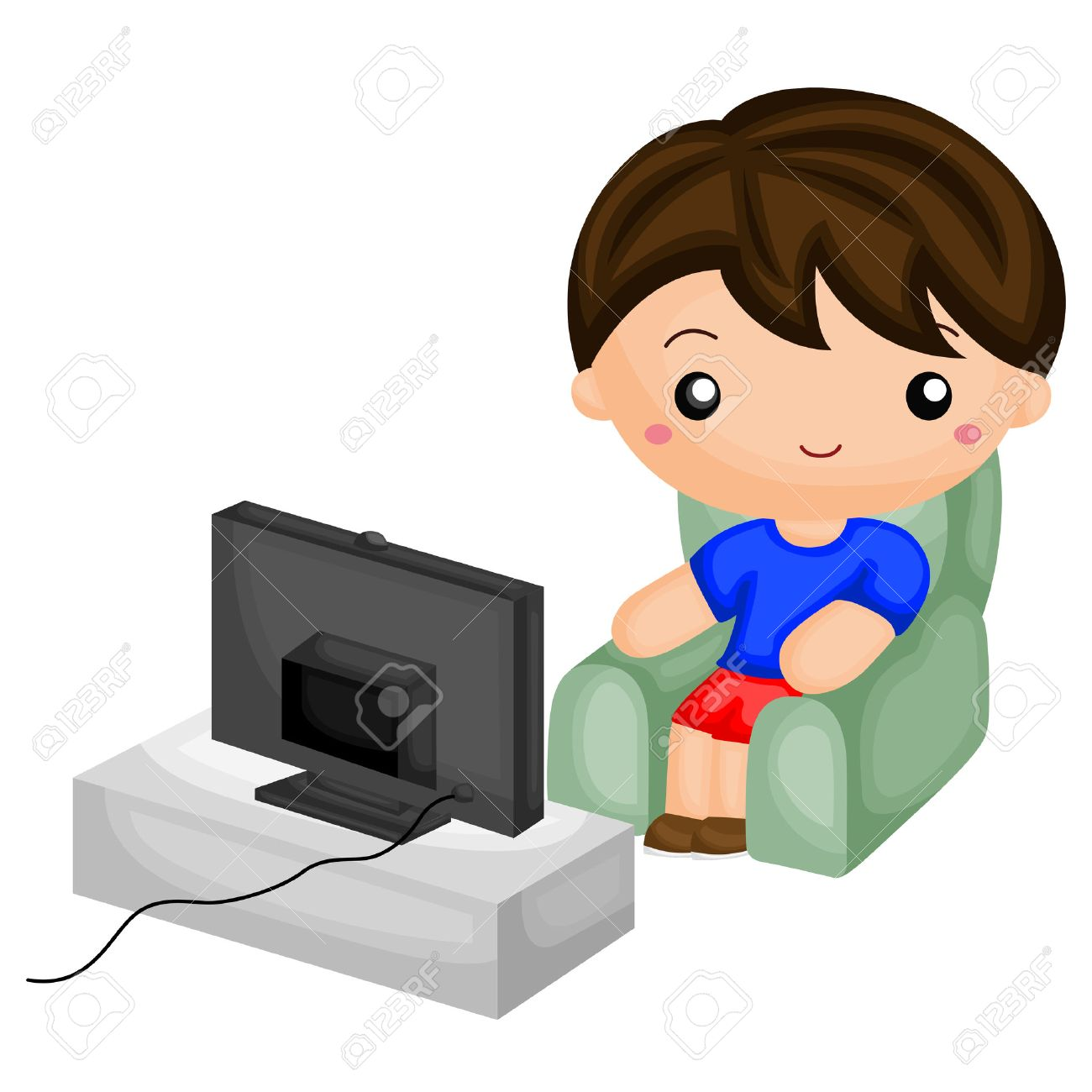 2 boys watching tv clipart Transparent pictures on F.