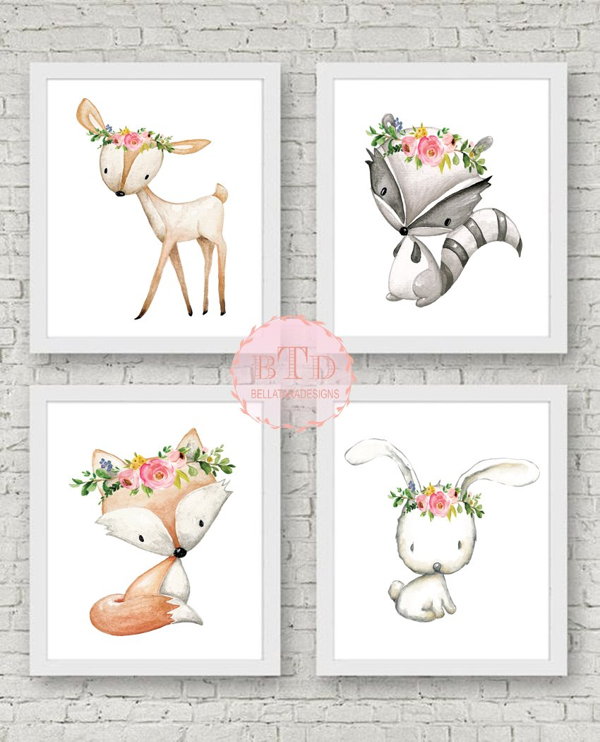 Woodland Deer Fox Bunny Rabbit Raccoon Wall Art Print Woodland Boho  Bohemian Floral Nursery Baby Girl Room Set.