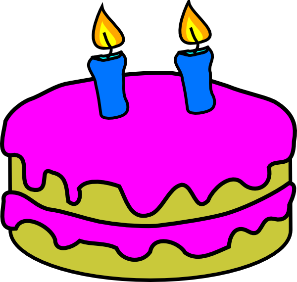 Birthday Cake 2 Candles Clip Art at Clker.com.