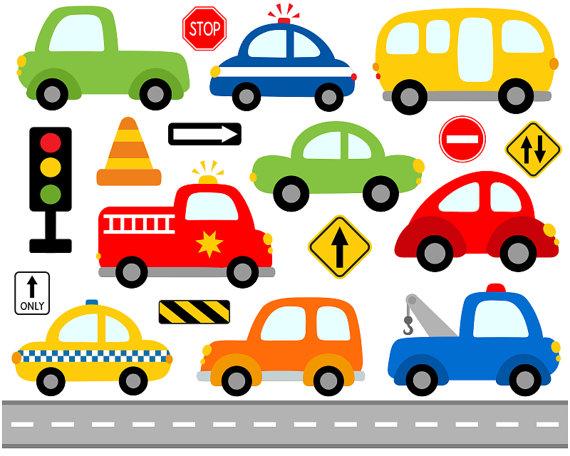 Cute Cars Digital Clip Art, Transportation, Road Signs.