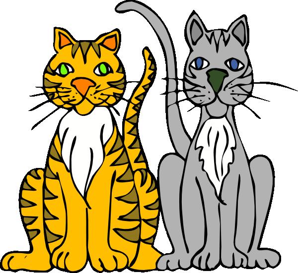 Two Cartoon Cats Clip Art at Clker.com.