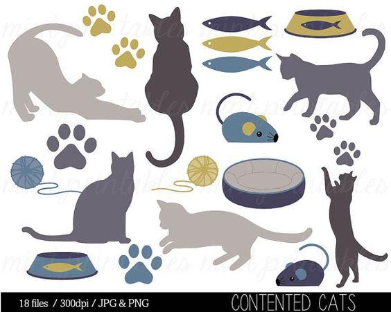 Cat Clipart, Kitten Clipart Clip Art, Animal clipart, Cat.