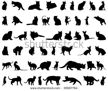 Cat Stretch Black Silhouette Stock Images, Royalty.