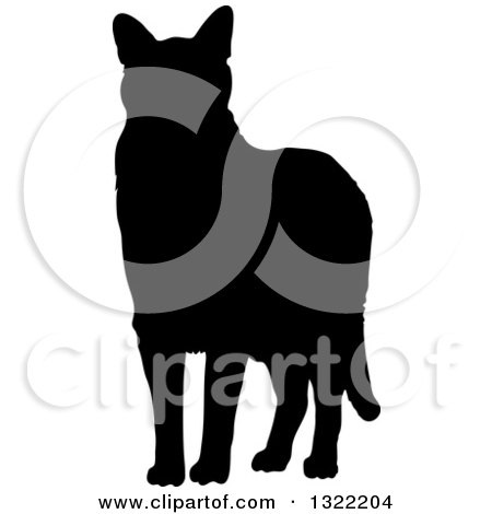 Clipart of a Black Standing Cat Silhouette 2.