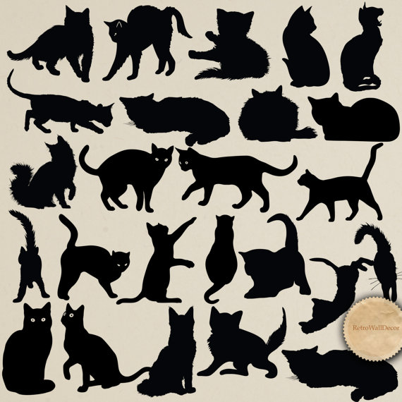 Cats Silhouettes Digital Clip Art Animal Silhouettes Black Kitty.