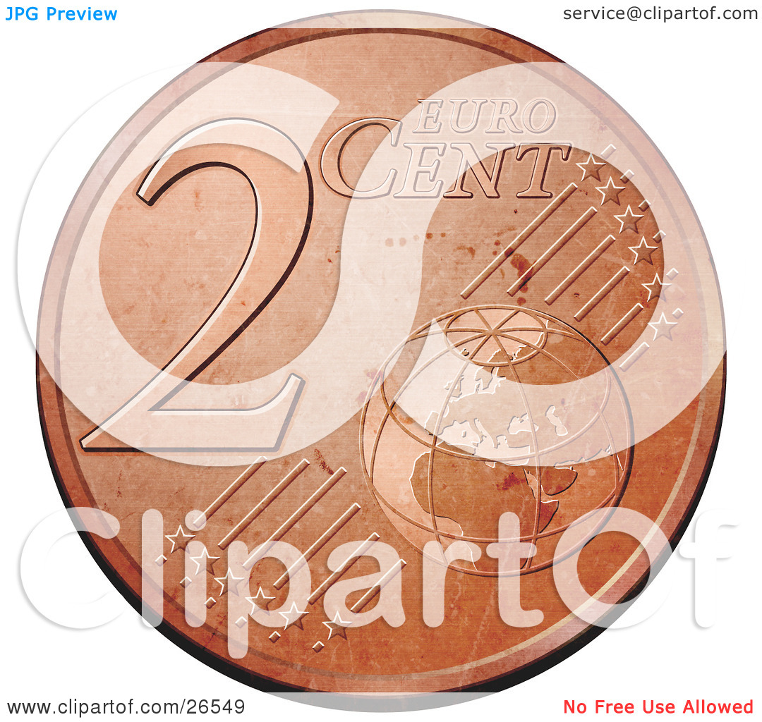 Clipart Illustration of a Bronze 2 Cent Euro Coin With A Globe And.