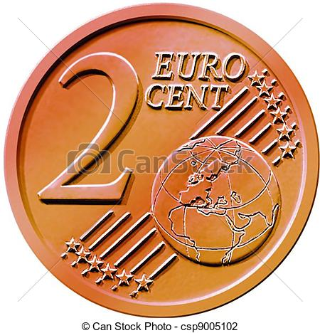 Clip Art of Two (2) Cent Euro Coin.