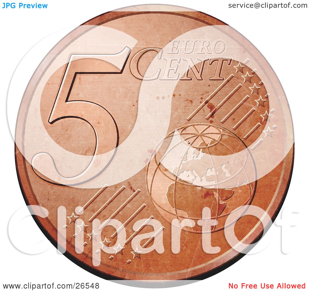 Clipart Illustration of a Bronze 5 Cent Euro Coin With A Globe And.