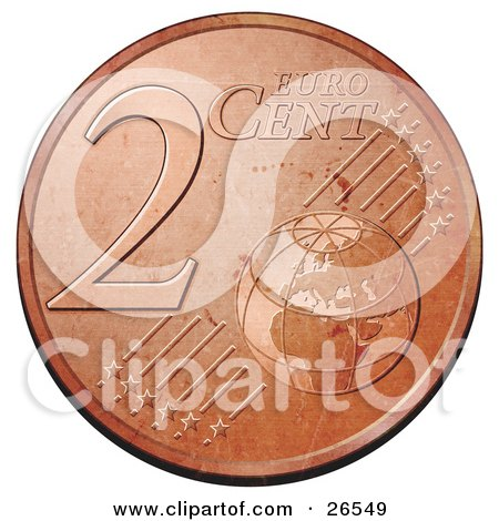 Bronze 2 Cent Euro Coin With A Globe And Stars Posters, Art Prints.