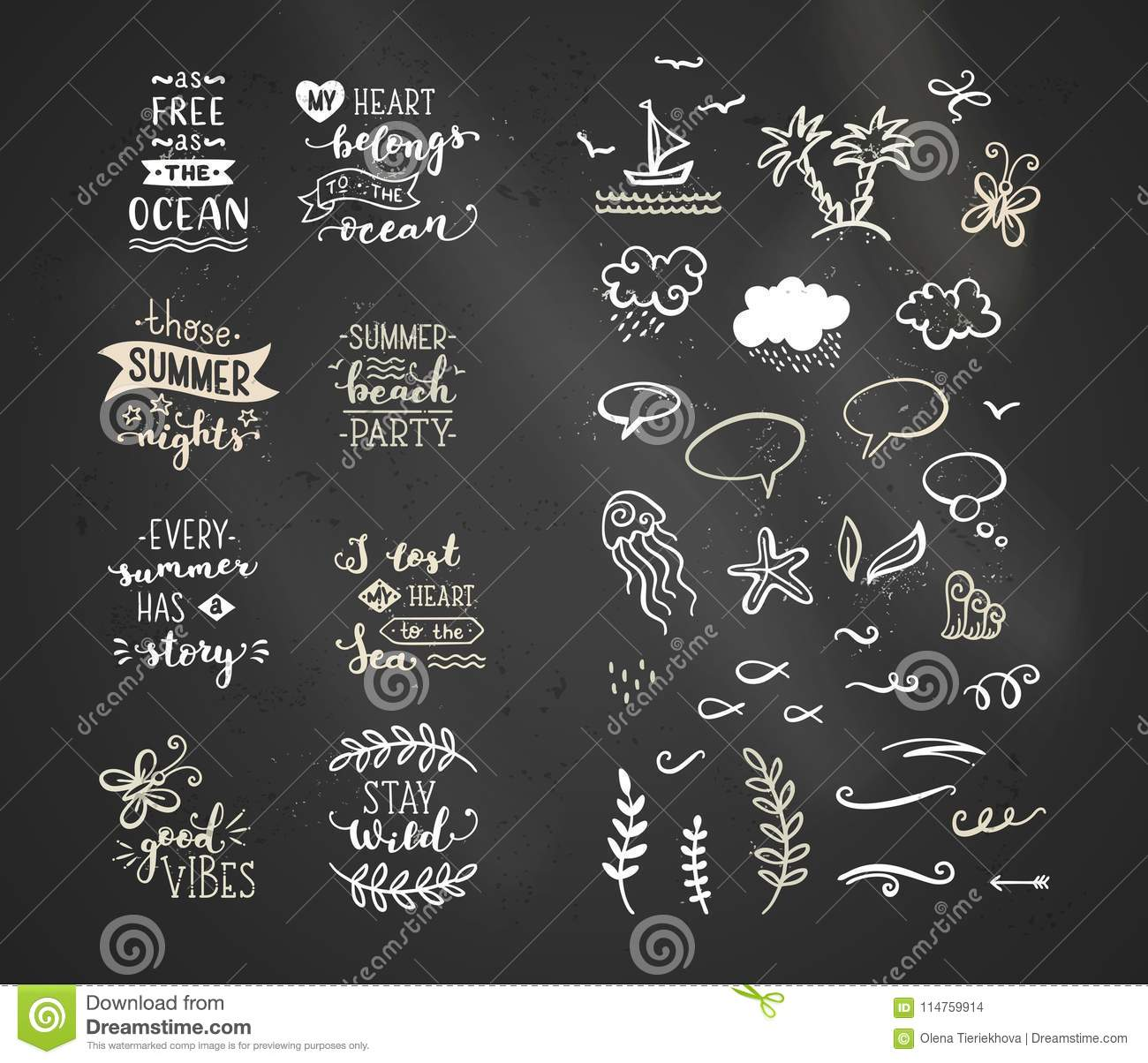 Vector Chalk Lettering And Doodle Clipart On Sea / Ocean.