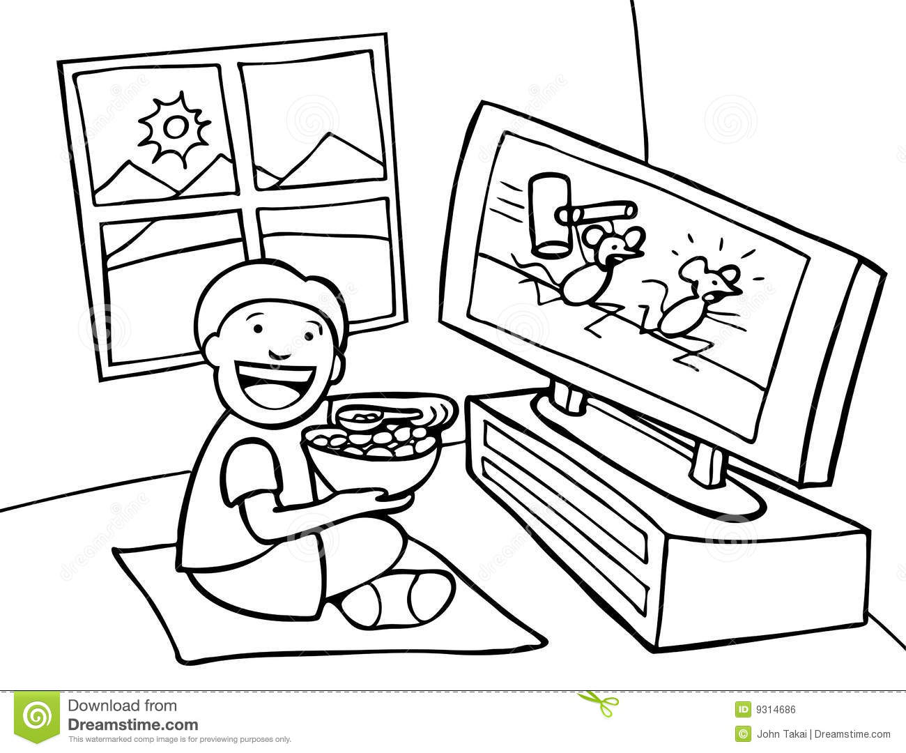 Watching Tv Clipart Black And White.