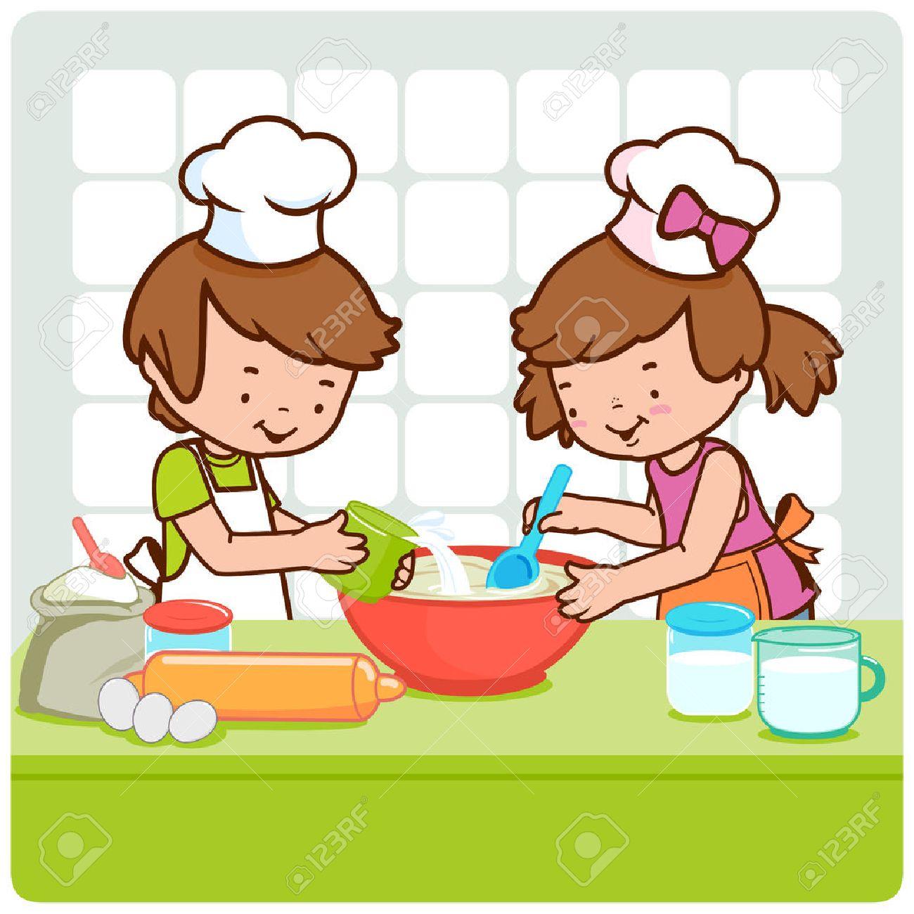 Children Baking Clipart.