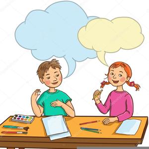 Two Kids Talking Clipart.