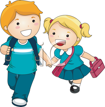 Royalty Free Clipart Image of Two Children Going to School.