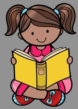 Kids Reading 2 Clip Art.