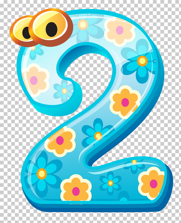 Number , Cute Number Two , yellow and blue 2 illustration.