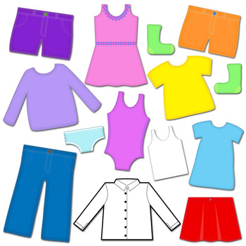 Clothes Clip Art: Clothes Line and Clothes Pins Clipart Set.