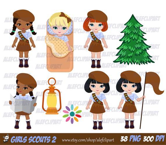 Explorer Girls Clipart Set Brownie Troop 2 / Junior Scout.