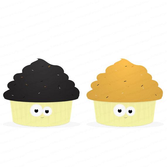 2 Halloween Cupcake Clip Art.