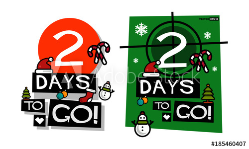 2 Days To Go Until Christmas (Flat Style Vector Illustration.