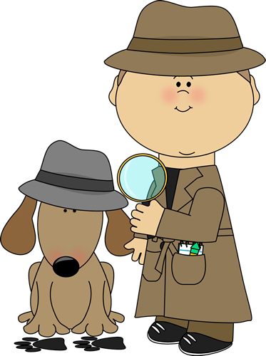 Silhouette of 2 detectives, one with magnifying glass Stock.