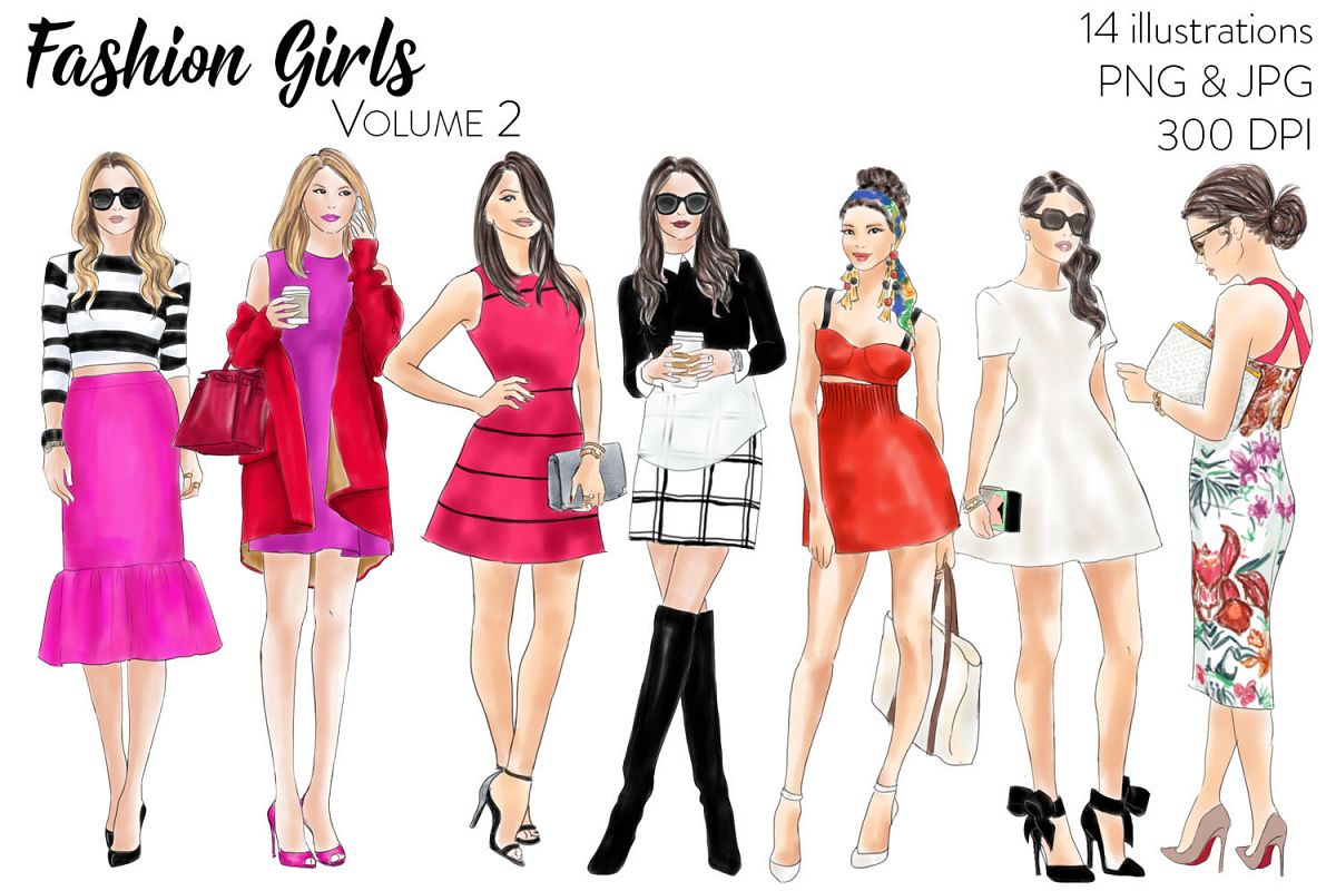 watercolour fashion illustration clipart.