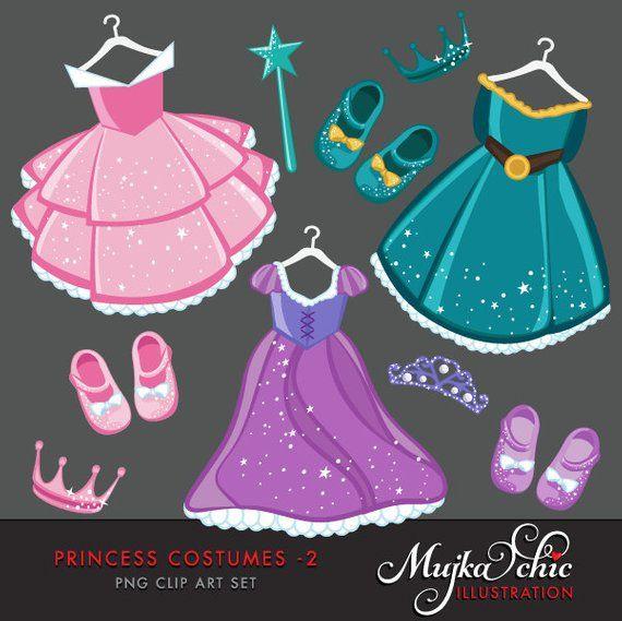 Princess dress Clipart with cute matching dress up.