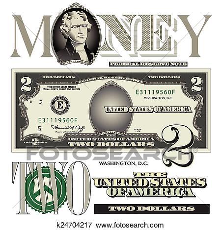 Two dollar bill elements Clip Art.