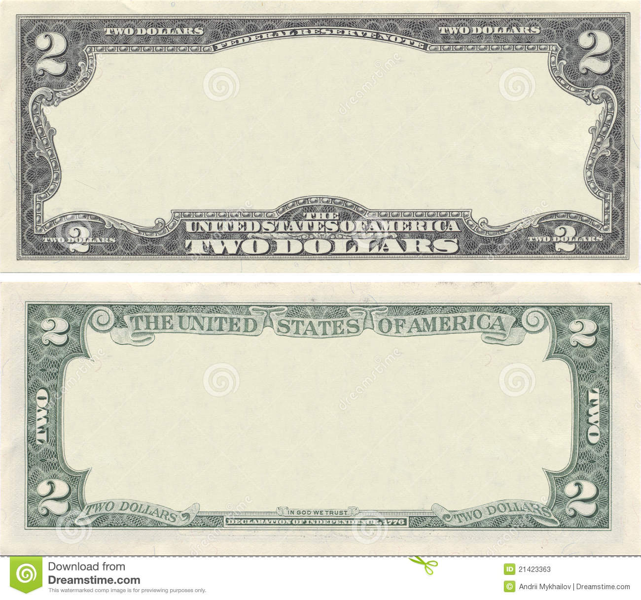 Clear 2 Dollar Banknote Pattern Stock Image.