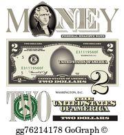 Two Dollar Bill Clip Art.