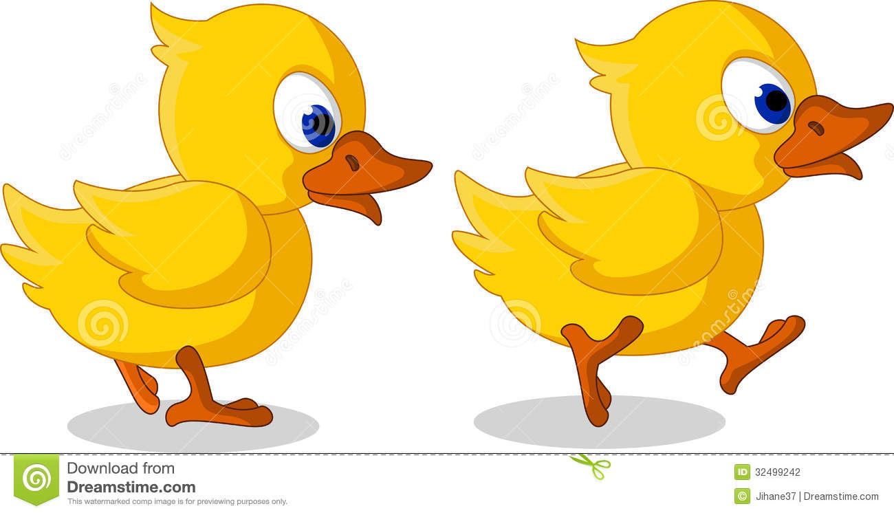 Duck Mascot Running Stock Vector.