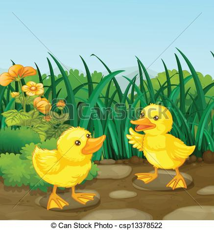 Vector Illustration of Two little ducks in the garden.