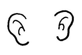 2 Ears Clipart Black And White.