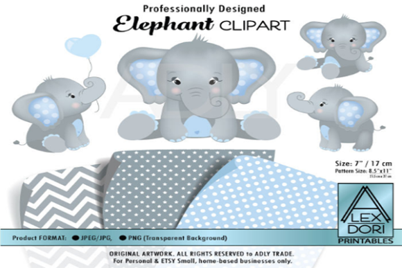 Gray Elephant Clipart with 3 Patterns.