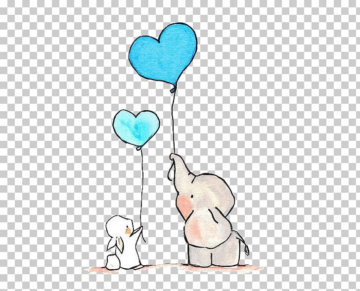 Tattoo Child Love, Small elephant and bunny, gray elephant.