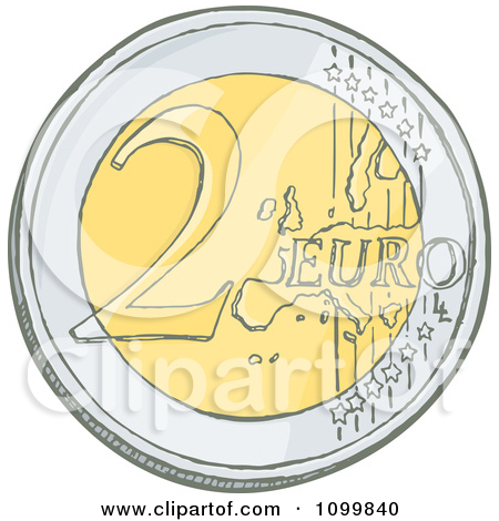 Clipart Sketched 2 Euro Coin.