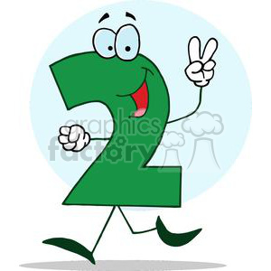Cartoon Happy Numbers 2 in green holding two finger up clipart.  Royalty.
