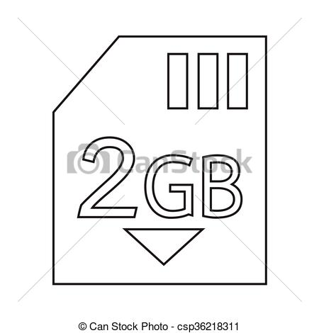 Vector Clip Art of Memory Card 2 Gb icon Illustration design.