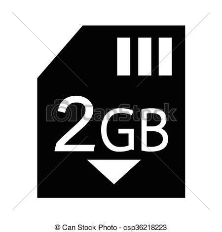 Vector Illustration of Memory Card 2 Gb icon Illustration design.